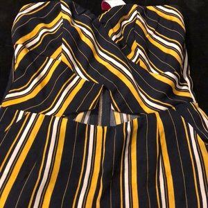 Safaree stripe jumpsuit!!Black yellow and white